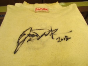 Jason Priestley autographed racing shirt